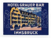 Hotel label luggage labels Austria Very old pretty #328